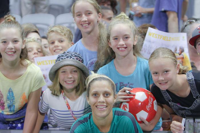 Katrina Gorry with Matildas fans