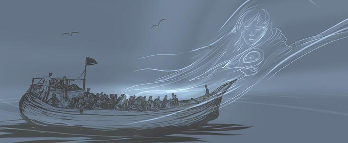 An illustration from the SBS VR documentary 'Inside Manus'.