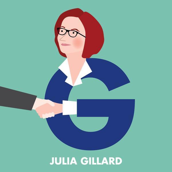 G is for Julia Gillard, from the Aussie Legends Alphabet by Beck Feiner.