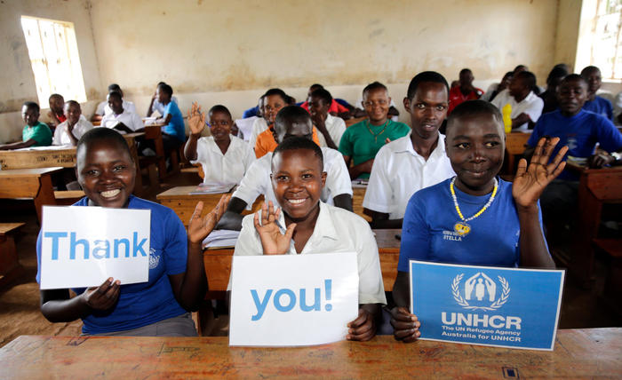 Refugee children from South Sudan attend school in Kyaka II settlement, in Uganda. They are looking forward to attending the vocational training centre Australia for UNHCR is building nearby.