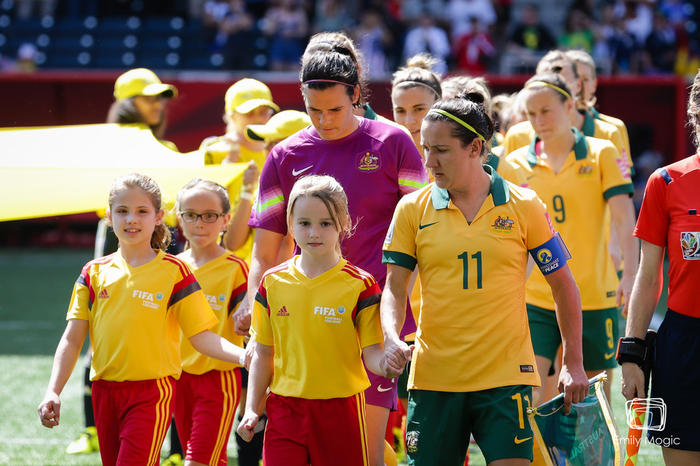 Lisa de Vanna leads out the Matildas at the World Cup