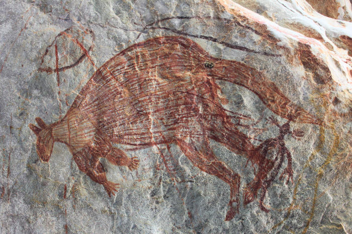 A kangaroo rock art drawing in the Kimberley