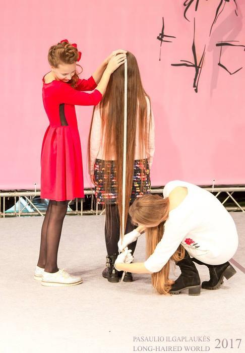 Competitors take part in Lithuania's long hair contest (Facebook/Konkursas Pasaulio Ilgaplaukės Long-Haired World)
