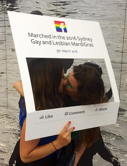Lucy Thompson and her girlfriend at the Mardi Gras
