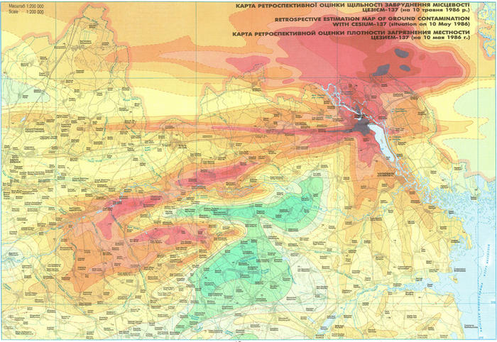 Map of the Chernobyl region of Ukraine