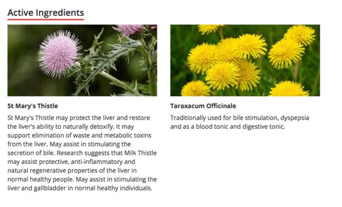 Caruso's liver detox active ingredients