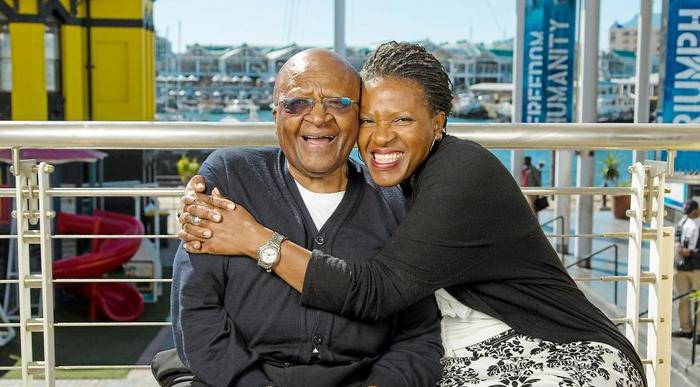 Mpho Tutu van Furth hugs her father Archbishop Desmond Tutu