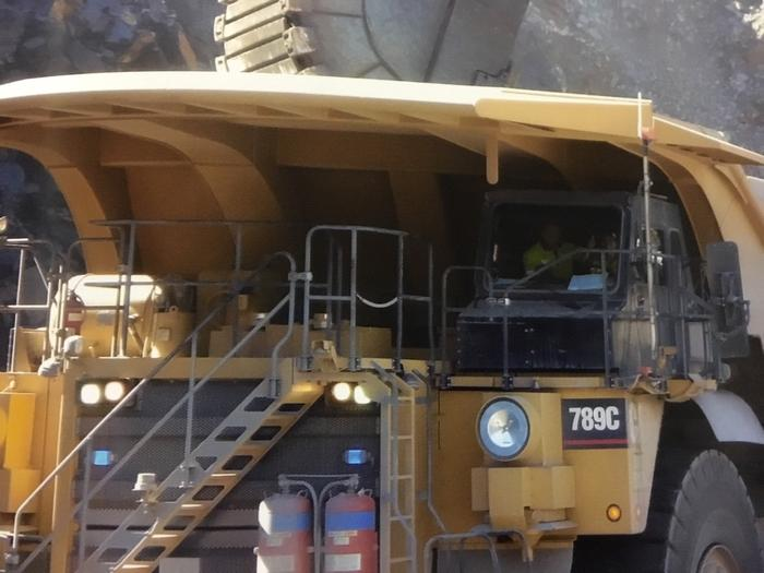 Amy Turner driving a mining truck