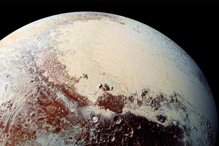 close-up of pluto surface