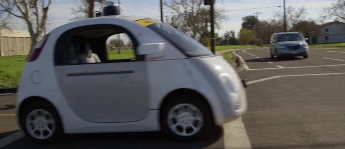 Google's self-driving car on an American road, with no one in it.