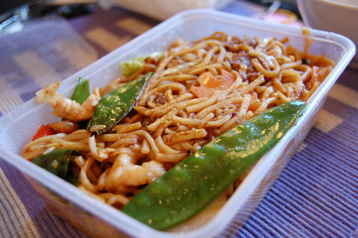 takeaway noodles in a greasy container