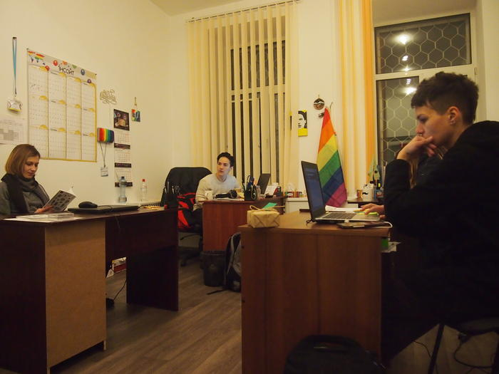 Volunteers at Insight, an LGBTI NGO in Kyiv, Ukraine
