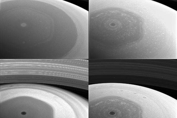 A whirling storm from Saturn
