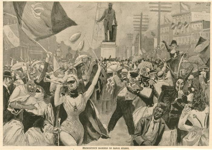 """Promiscuous Maskers on Canal Street"". Scene of New Orleans Mardi Gras, 1893, with partying street maskers & costumers."