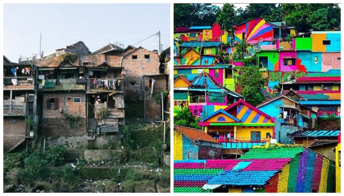 Before and after the 'rainbow village' makeover.