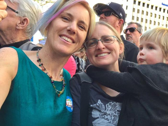 Sally and Elise with their son Tadhg at a Marriage Equality rally in Adelaide.