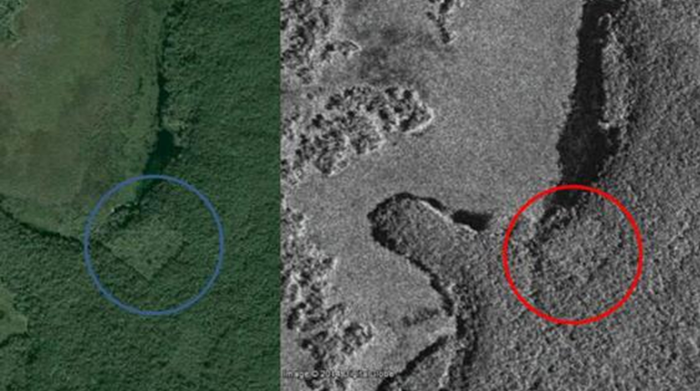 Google Earth and satellite photos show what appears to be a structure in the jungle