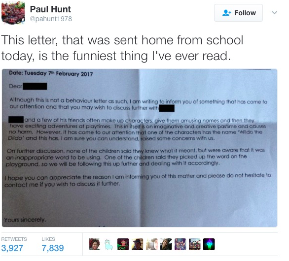 Teacher sends awkward letter home after student invents 'Wildo the Dildo'