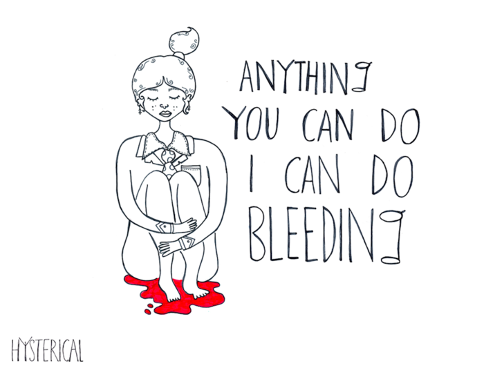 One of the author's preferred inspirational artworks on menstruation, called 'Hysterical'.