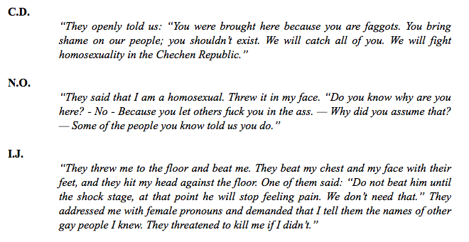 A screenshot of some of the horrifying stories in the Russian LGBT Network report.