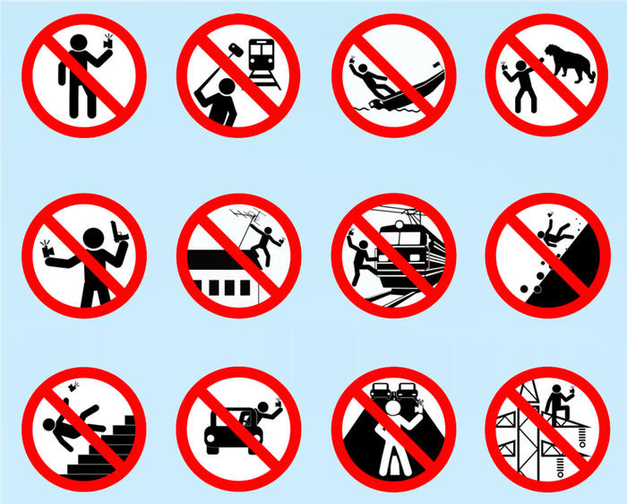 Russia has created a campaign illustrating bad selfie ideas.