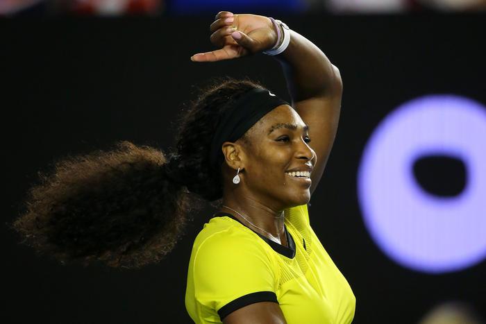 Serena Williams celebrates winning her semi final match against Agnieszka Radwanska