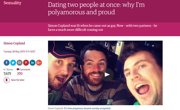 Simon Copland's 2015 op-ed coming out as polyamorous. (Photo: The Guardian)