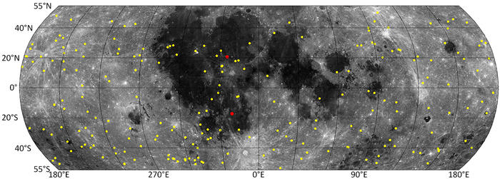 a map of lunar surface with new craters marked