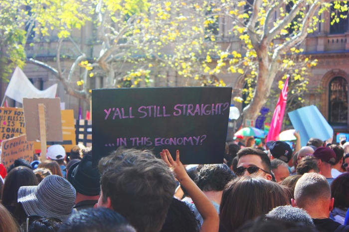 'Y'all still straight?' sign at Sydney Marriage Equality rally on September 10th, 2017. (Photo: Chloe Sargeant / SBS)
