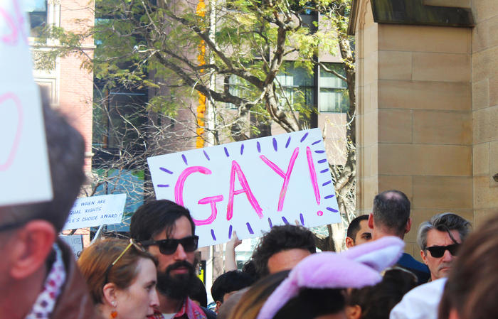 'Straight to the point' sign at Sydney Marriage Equality rally on September 10th, 2017. (Photo: Chloe Sargeant / SBS)