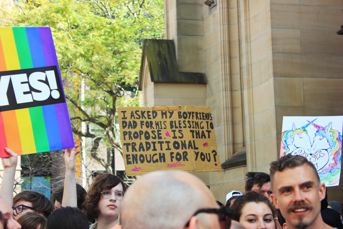 'Is that traditional enough for you?' sign at Sydney Marriage Equality rally on September 10th, 2017. (Photo: Chloe Sargeant / SBS)