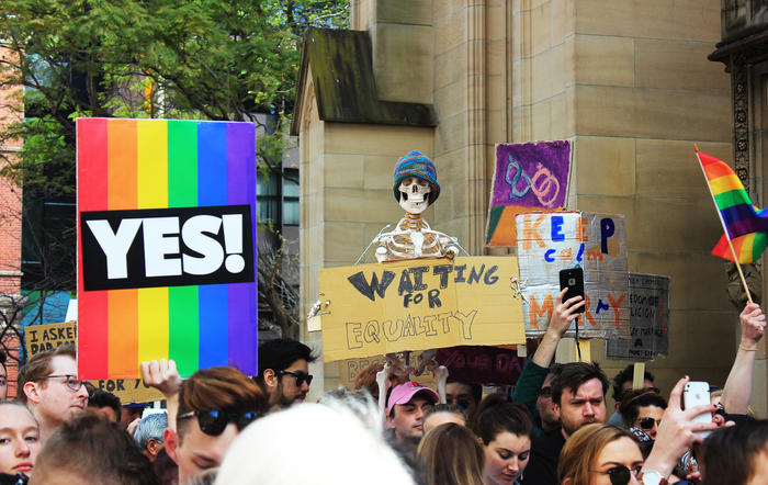 'Waiting for equality' sign at Sydney Marriage Equality rally on September 10th, 2017.