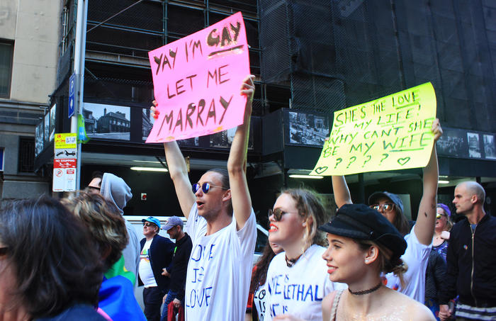 'Yay I'm gay, let me marray' sign at Sydney Marriage Equality rally on September 10th, 2017. (Photo: Chloe Sargeant / SBS)