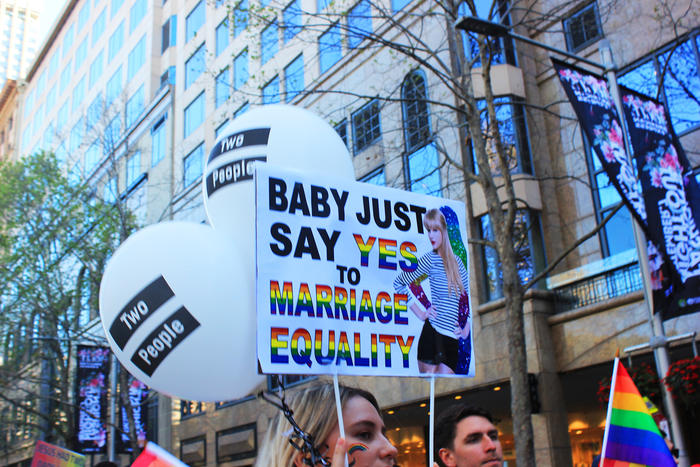 'T-Swift' sign at Sydney Marriage Equality rally on September 10th, 2017. (Photo: Chloe Sargeant / SBS)