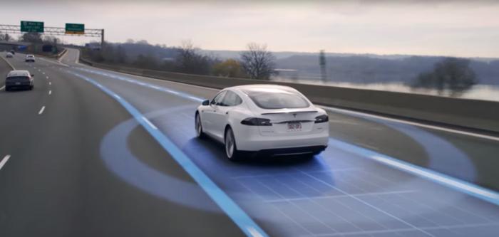 A Tesla car on a US freeway