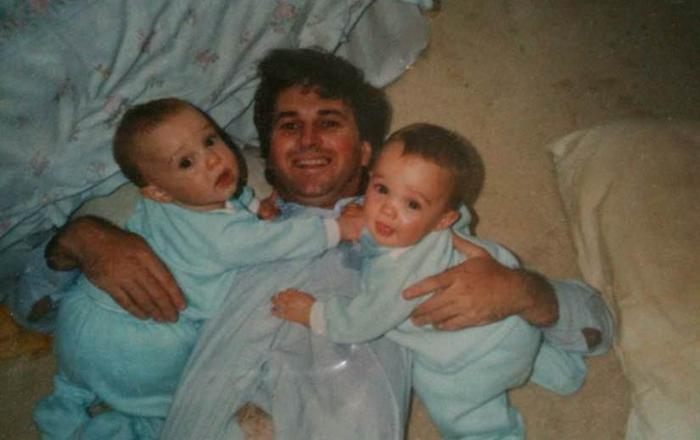 Tony with his twin daughter, Kate & Beth