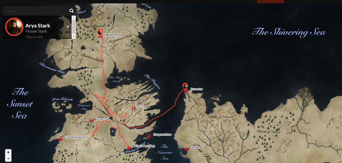 Tracking Arya Stark across the map of Westeros