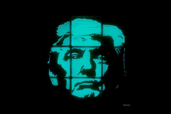 glowing trump portrait