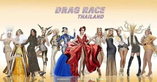 The first image released of the participating queens, alongside Art Arya and Pangina Heals, for the debut season of Drag Race Thailand.