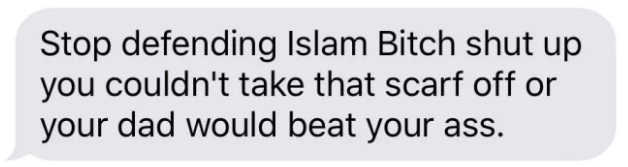 The Islamophobic message Lamyaa received in a group chat.