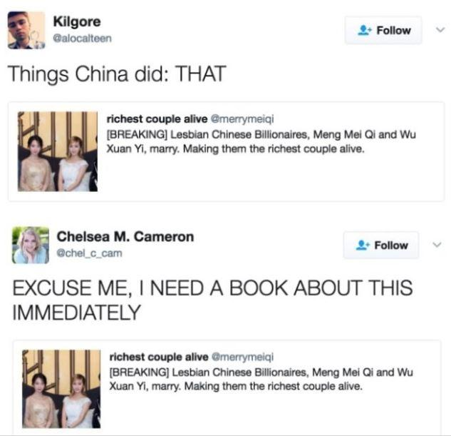 Everyone is sad the story about Chinese lesbian billionaires turned out to be fake