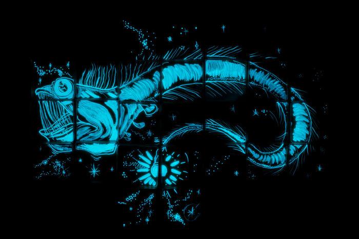 viperfish bioluminescent painting