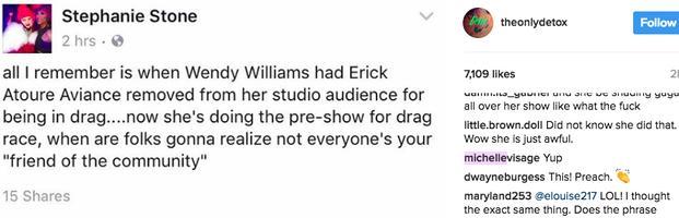 Michelle Visage's comment on Detox's Instagram account.