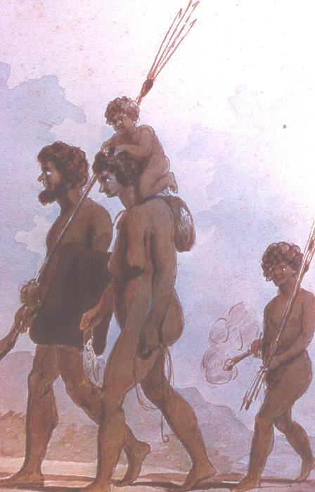 watercolour of aboriginal family on the move