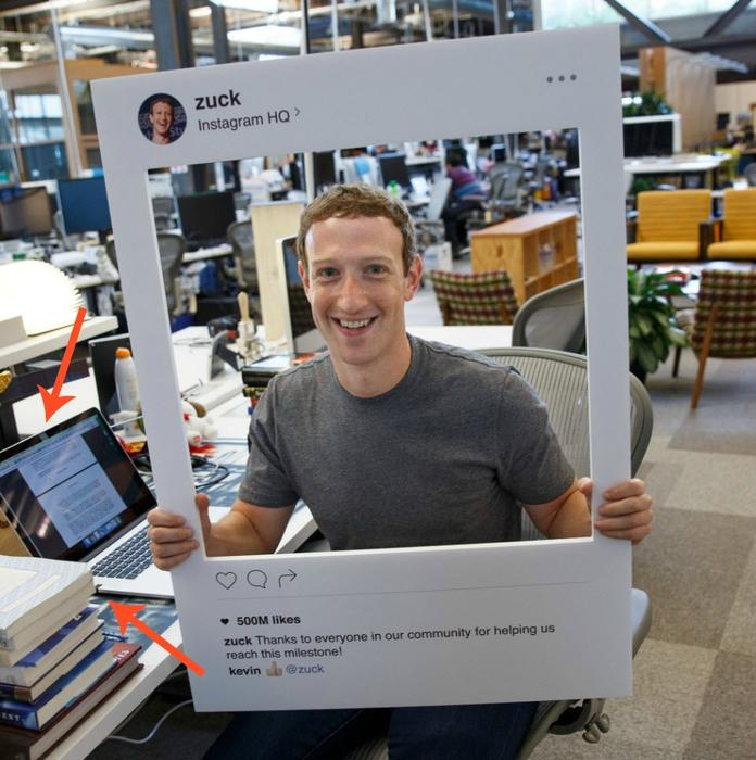 Mark Zuckerberg's computer appears to have tape over the webcam and microphone.