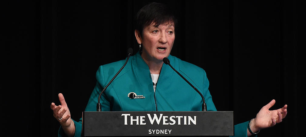 Jennifer Westacott, CEO of the Business Council of Australia addresses attendees at the Group of 100 National Congress in Sydney, Wednesday, May 20, 2015.  (AAP Image/Dean Lewins) NO ARCHIVING