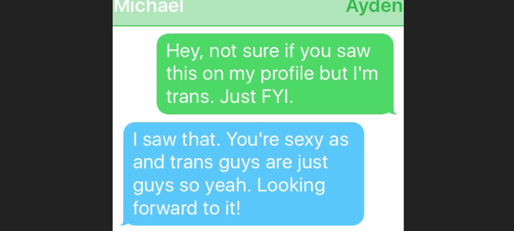 text messages showing a trans man disclosing his trans status and another man responding positively