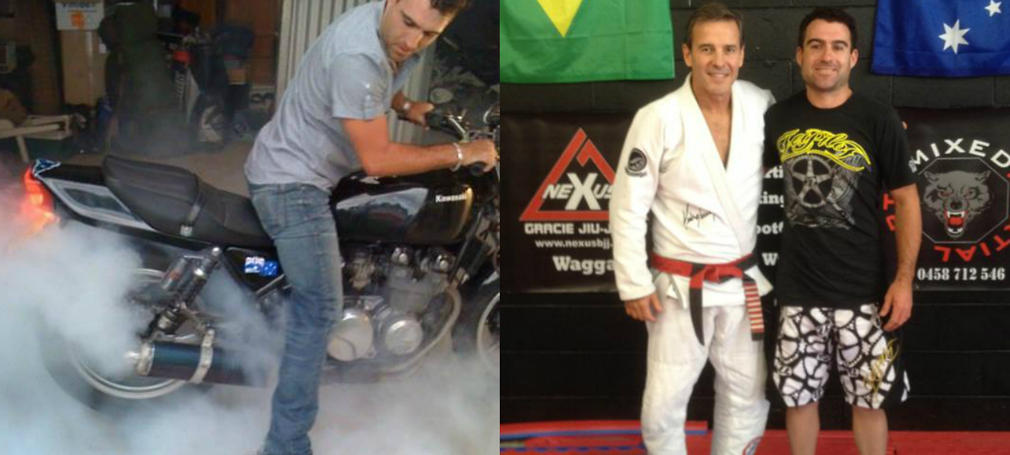 Dave Conroy on a motorbike and at martial arts training.