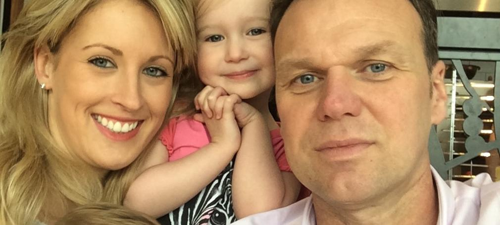 Andrew Drury with his wife and two kids