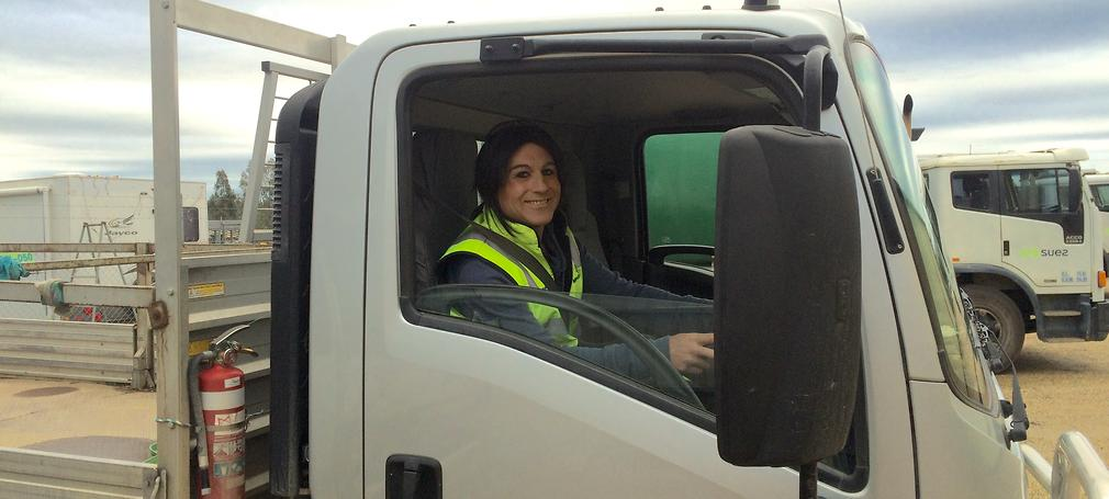 Holly Conroy driving a truck